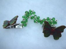 2 green butterfly clips gift Love 1950's style cardigan chain green crystals