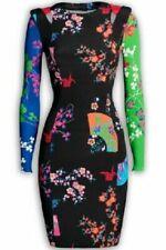 Impresionante VERSACE PARA H&M Asia Oriental Seda equipada Vestido EU 34 UK 6 Floral Prin