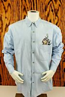 MENS SIZE L~Acme Clothing Co.~Blue Denim~Button Down LOONEY TUNES Shirt~Vtg