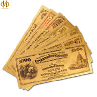 7PC 1875 USA Dollar Color Gold Plated Banknote USD $1.5.10.20.50.100.1000 Dollar