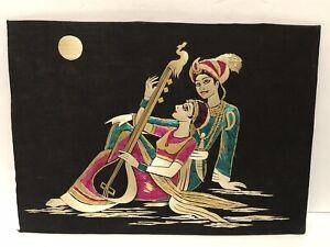 Original Hand Made Inlay Straw Inlaid Art Picture Aladdin Princess India