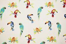 "Tropical White Parrots 100% Pima Cotton Birds Sheer Soft Fabric Apparel 57""W"