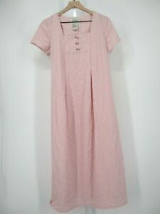 Vintage New Edition Maternity Dress Womens Small S Pink Gingham Check Maxi