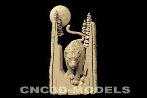 3D Model STL for CNC Router Carving Artcam Aspire Cheetah Animal Tree Moon D109