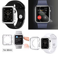 Full Body Crystal HD Protective Case &Tempered Glass Screen For Apple Watch 42mm