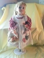 """Anco Merchandise Co 1995 16"""" Blonde hair Porcelain Doll with green eyes on stand"""