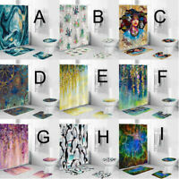 4PCS Non Slip Toilet Fashion Cover Mat Set Bathroom Shower Curtain Polyester