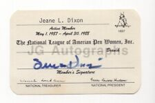 Jeane Dixon - Predicted Death of John F. Kennedy - Signed Membership Card