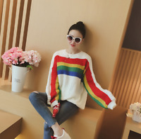 Womens Rainbow Color Long Sleeve Sweaters Knitwear Pullover Spring Tops Loose P3