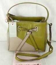 "Radley ""Newton"" Green and Beige Purple Leather Multiway Grab or Cross Body Bag"