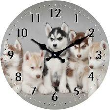 Dog Clock Husky Pups Glass Desk or Wall Clock (17cm)