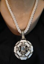 HEIDI DAUS NEWPORT CHIC II Necklace - Pendant - WHITE ENAMEL, 2""