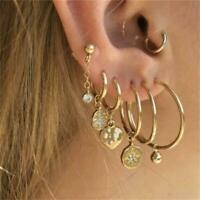 7pcs Kristall Stern Kette Runde Hoop Ohrringe Frauen Tiny Gold Plated Jewelry
