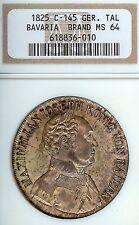German States Bavaria 1825 Taler Coin Thaler NGC MS 64 Stempelglanz RARE KEY