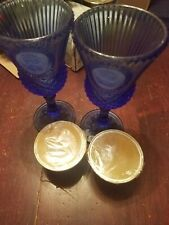 Avon Fostoria Glass Washington Cobalt Blue Goblet Candle Holders Set Of Two
