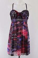 BCBG Purple Print Beaded Strapless/Spaghetti Strap Empire Waist Dress Size 10