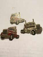 Vtg Truckin Pins Lot Of 3 Preowned
