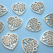 20pcs 19mm Tibetan Silver Tree of Life Heart Charms Pendant Nature Pagan Wiccan