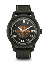 Harley-Davidson® Bulova Men's HDMC Black Stainless Steel Leather Watch 78A116