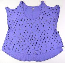 Rusty SUN WHISPERER Womens Cold Shoulder T-Shirt Medium Purple NEW