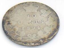 1894 Canada 10 Ten Cent Silver Dime Canadian Circulated Victoria Coin J313