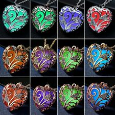 Luminous Crystal Magic Heart Hollow Locket Glow In The Dark Pendant Necklace New