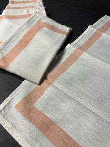 Lot of 6 Cotton Linen Napkins - Soft White With Coral Pink Trim (Ships Free)