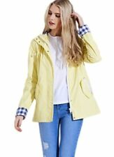 Womens Ladies Shower Proof Contrast Check Girls Rain Mac Pastel Jacket Coat Lemon L
