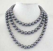 "Perfect round 10mm AAA + South Sea dark gray shell pearl necklace 52"" LL001"
