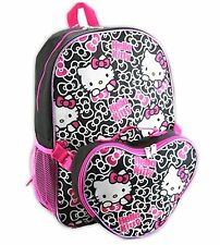 "Adorable Sanrio Hello Kitty 16"" Backpack and Lunch Bag Set NWT Black & Pink Bows"