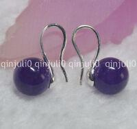 Natural 10mm round Amethyst gemstone Beads silver Hook Dangle Earrings JE88