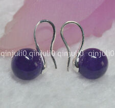 Natural 10mm round Amethyst gemstone Beads silver Hook Dangle Earrings JE88