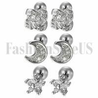 6pcs Stainless Steel Womens Cubic Zirconia Cartilage Stud Earrings Screw Back