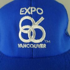 Expo 86 Hat Trucker Cotton & Mesh Snap Back 1986 Blue With White Embroidery