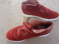 Red Gucci Mid High top rebound suede sneaker