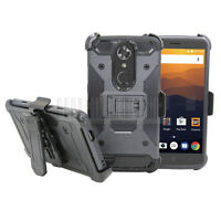 Rugged Hybrid Holster Hard Armor Case Kickstand Phone Cover For ZTE Max XL N9560