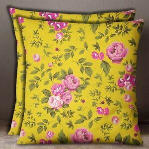Yellow With Pink Decorative Square Cotton Poplin Rose Floral Print Cushion Cover