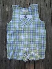 Strasburg ~ Boys Plaid Overalls Romper ~ Size 18 months