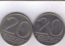 2 DIFFERENT 20 ZLOTY COINS from POLAND - BOTH DATING 1990 (2 TYPES)
