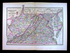 1887 Bradley Map - Virginia West VA Maryland Delaware Washington DC Richmond