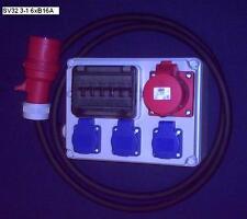 Stromverteiler,Adapter 16A auf 3xSchuko ,1xCEE 16A mit Fi-Schalter