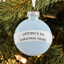 PERSONALIZED CHRISTMAS ORNAMENT BOY BABY'S FIRST CHRISTMAS BALL BLUE