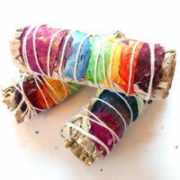 "3X 7 Chakra Sage White Sage with 7 Rose Petals 4"" 3 Smudge Sticks FREE Crystal"