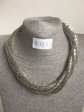 #023 UK Modern Statement Silver Necklace Chunky Jewellery Twisted Chain Fashion