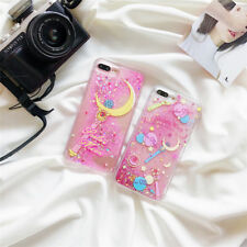 Girly Sailor Moon Bling Glitter Liquid Hard Phone Case For iPhone X 6S 7 8 Plus