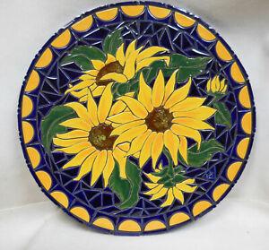 "Royal Blue Sunflower Mosaic Wall Art, Handmade Ceramic Tile Original Art 18"" dia"