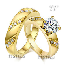 TT 14K GP Multi-CZ Stainless Steel Engagement Wedding Band Ring For Couple