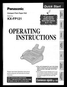 Panasonic Plain Paper FAX KX FP121 Operating Instructions original owners Manual