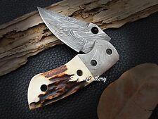 2018 New Custom Handmade Damascus Folding Knife Damascus Bolster Stag Handle