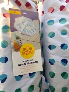 6' Tilting Beach Umbrella Canopy Patio Outdoor Portable Pool Sun Shade Corkscrew